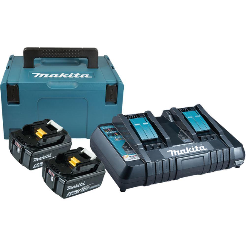 Makita 18V Ersatzakku + Doppelladegerät / 2x Akku 5.0 Ah Makpac Power Source KIT