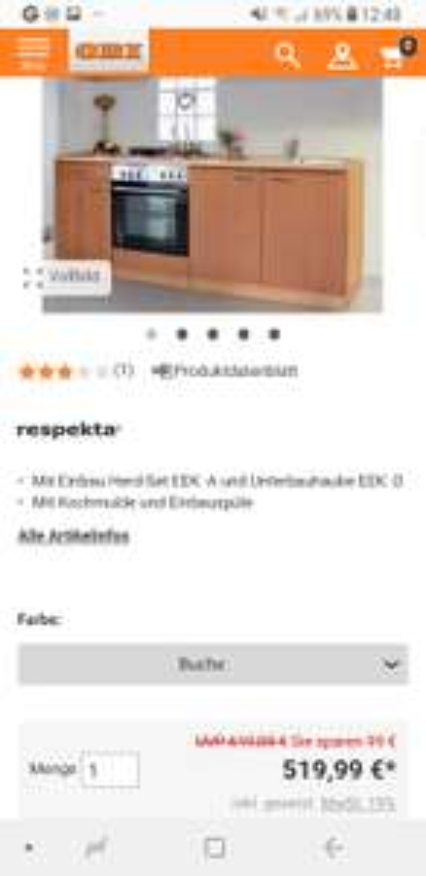 [obi.de] Respekta Küchenzeile KB210BBE 210 cm Buche mit E-Gerät