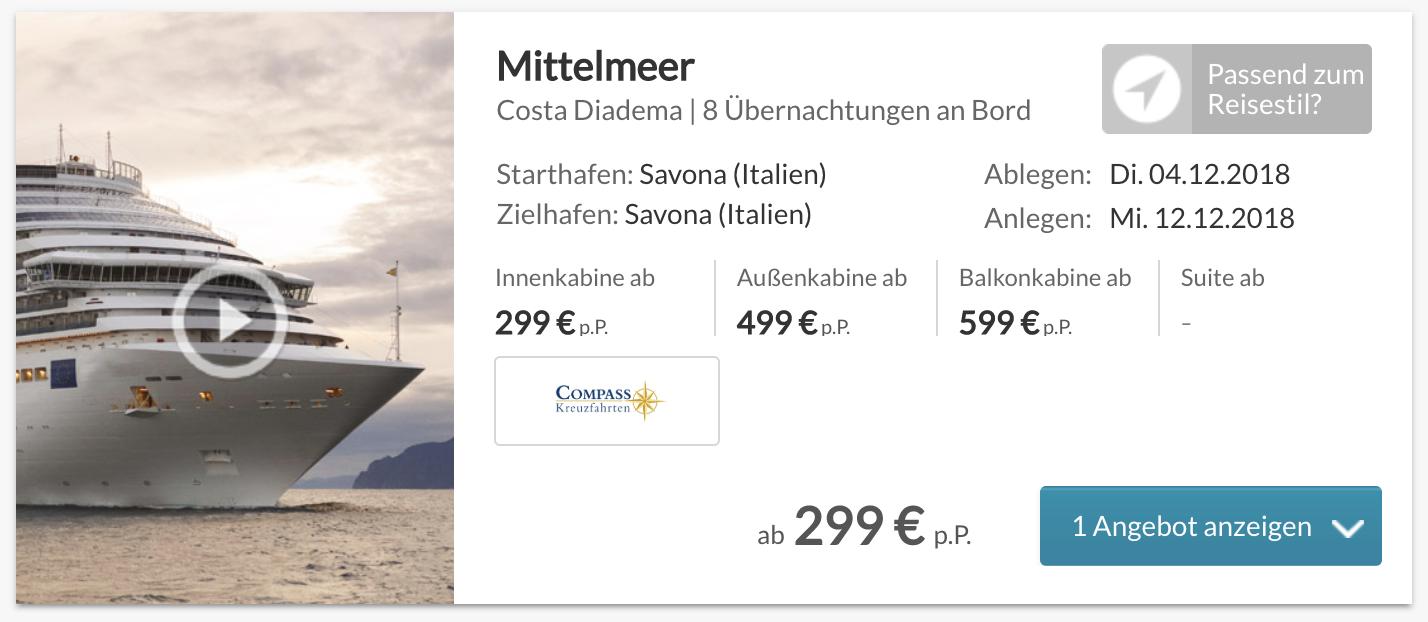8 Tage Mittelmeer Kreuzfahrt auf der Costa Diadema nur 299€ pro Person