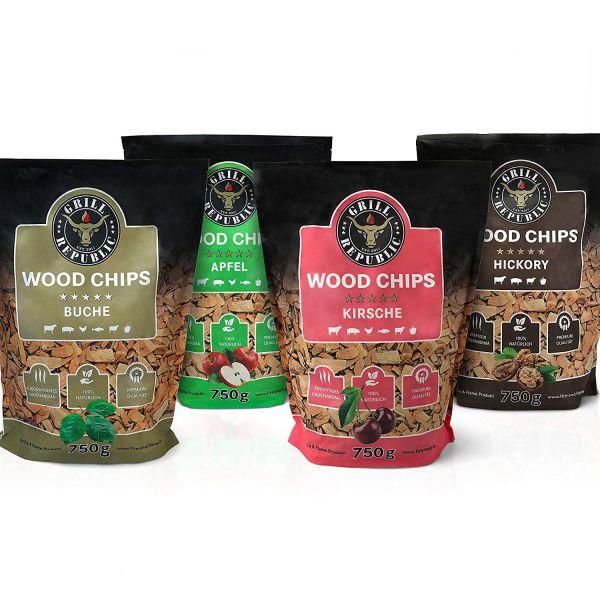 Grill Republic Wood Chips Mix: 4 x 750g (Hickory, Apfel, Kirsche, Buche)