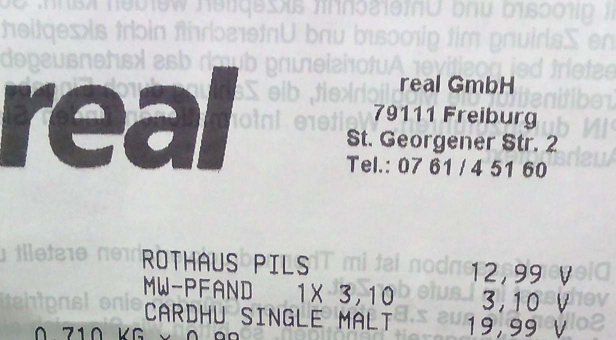 [Lokal Freiburg - Real St. Georgener Str.] Offline Cardhu Single Malt 12Yo Scotch Whisky @Real
