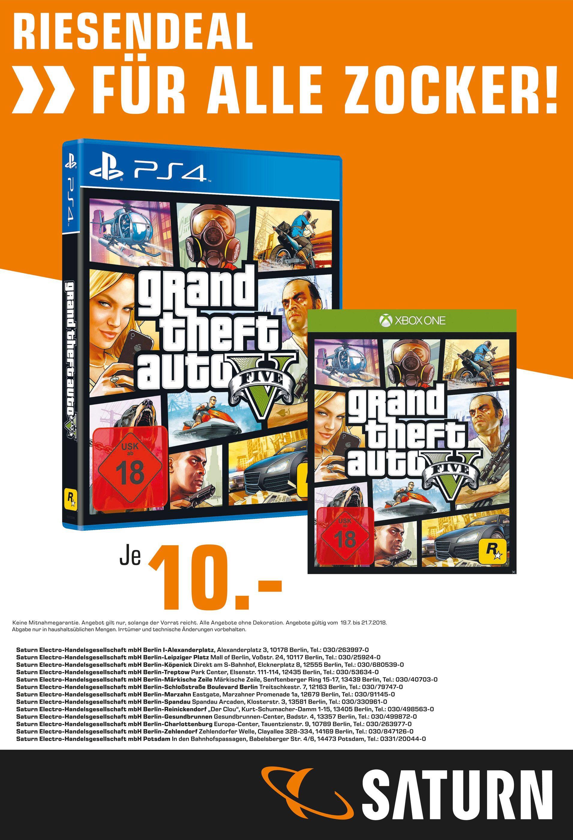 [Saturn Berlin/Potsdam] GTA V - PS4 & Xbox One