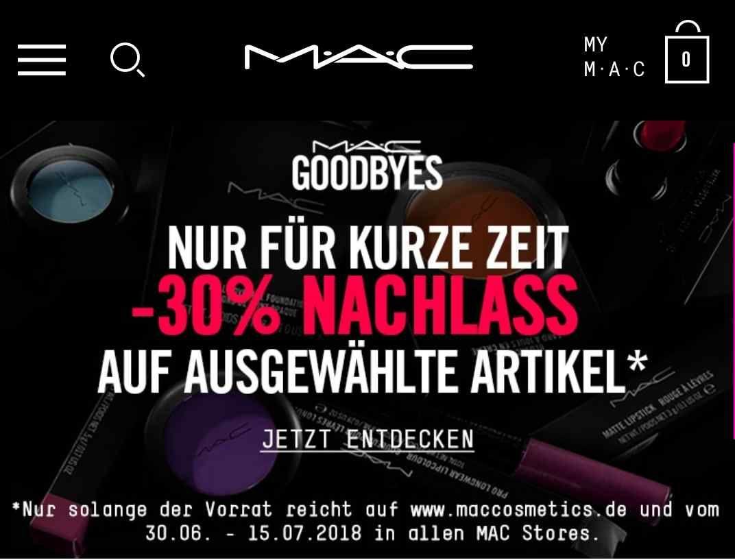 [MAC Cosmetics] Online und MAC Stores -30%  Nachlass auf ausgewählte Artikel. Preisbeispiel Lipstick