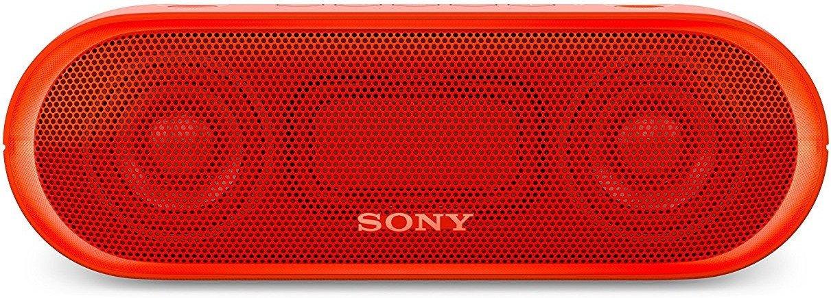 Sony SRS-XB20 Bluetooth Lautsprecher (Farbige Lichtleiste, Extra Bass, NFC, Wasserabweisend, bis zu 12 Stunden Akkulaufzeit) Rot für 39€ (Amazon)