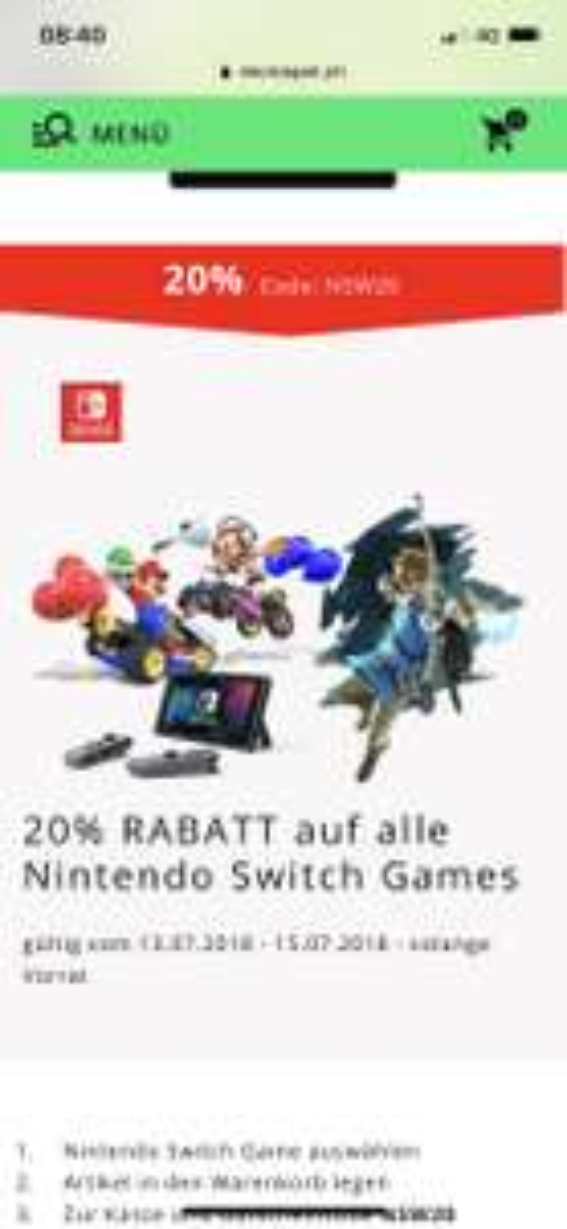 [SCHWEIZ] 20% auf alle Nintendo Switch Games