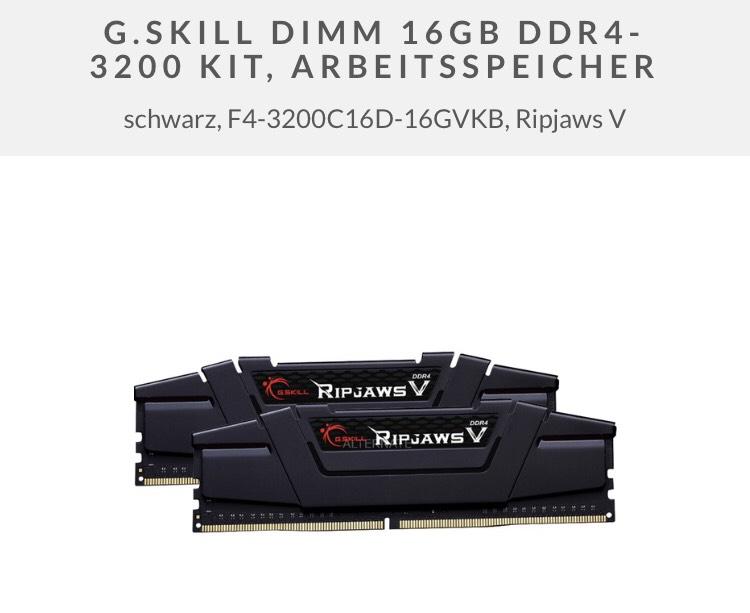 G.SKILL Ripjaws V 16GB DDR4-3200 RAM mit [MASTERPASS] 2x 8GB