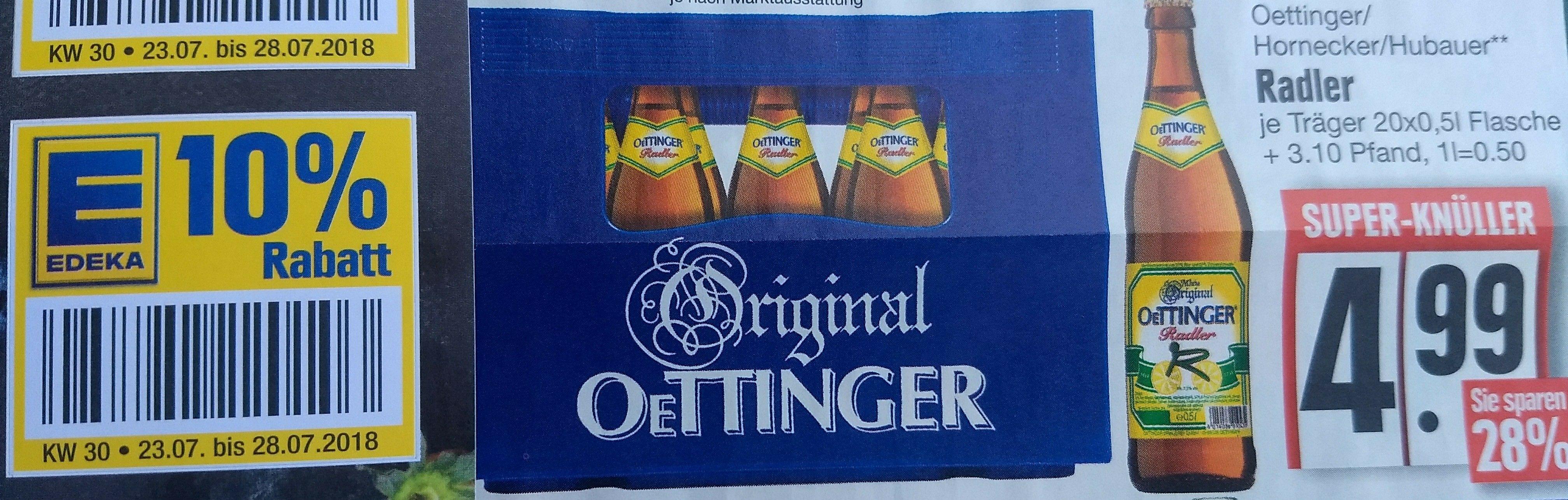 Oettinger Radler 20x0,5l inkl. 10% Rabatt für 4,49€ [EDEKA Südbayern]