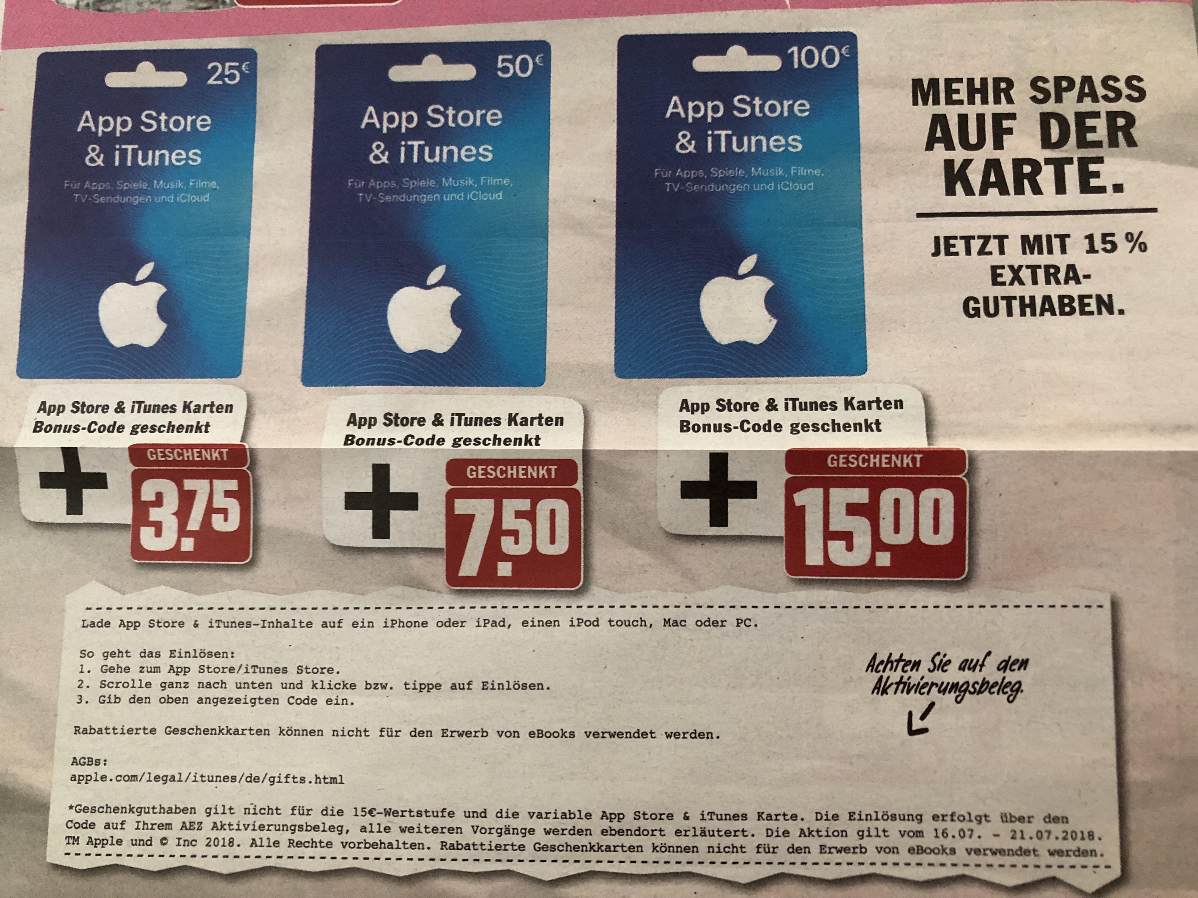 (Region München) iTunes, Appstore Karten mit 15% on Top bei AEZ