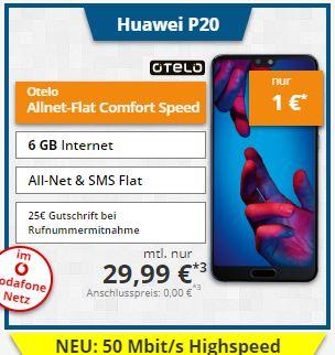 Tophandy: Huawei P20 mit Otelo Allnet-Flat Speed 6GB im Vodafone LTE-Netz / oder Galaxy Note 8 mit 99€ Zuz.
