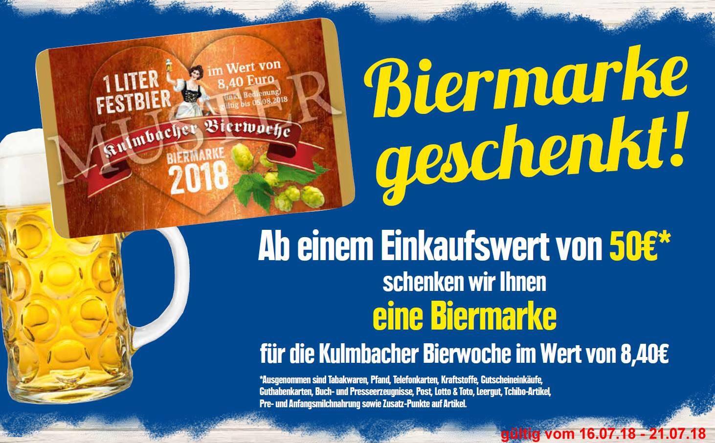 [lokal 95326 Kulmbach] Biermarke im Wert von 8,40€ geschenkt ab 50€ Einkauf