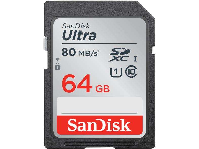 [Mediamarkt] 64GB SanDisk Ultra Class10 SDXC Speicherkarte lesen: 80MB/s für 19,-€