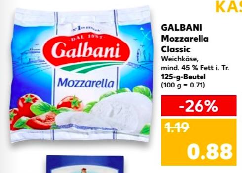 [Kaufland] 2x Galbani Mozzarella (38ct/Stück) Angebot + Coupon ab 19.7.