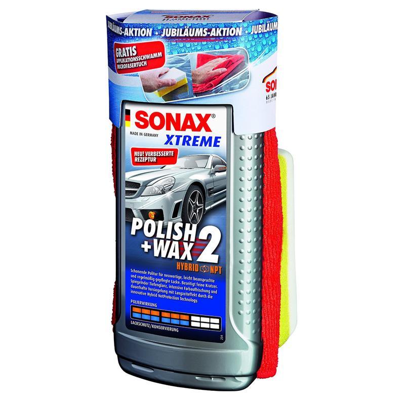Sonax XTREME Politur Polish&Wax 2 500ml 65 Jahre inkl. Schwamm & Mikrofasertuch für 9,99€