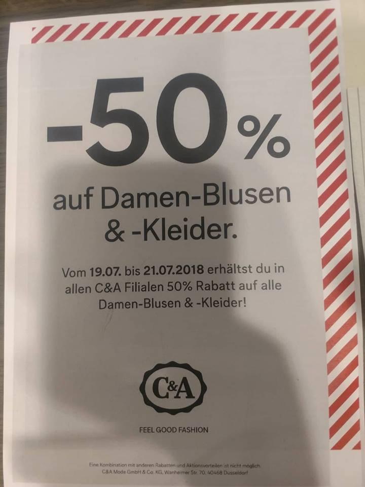 50% Rabatt bei C&A zusätzlich zum SALE auf Damen-Blusen & Kleider (offline)