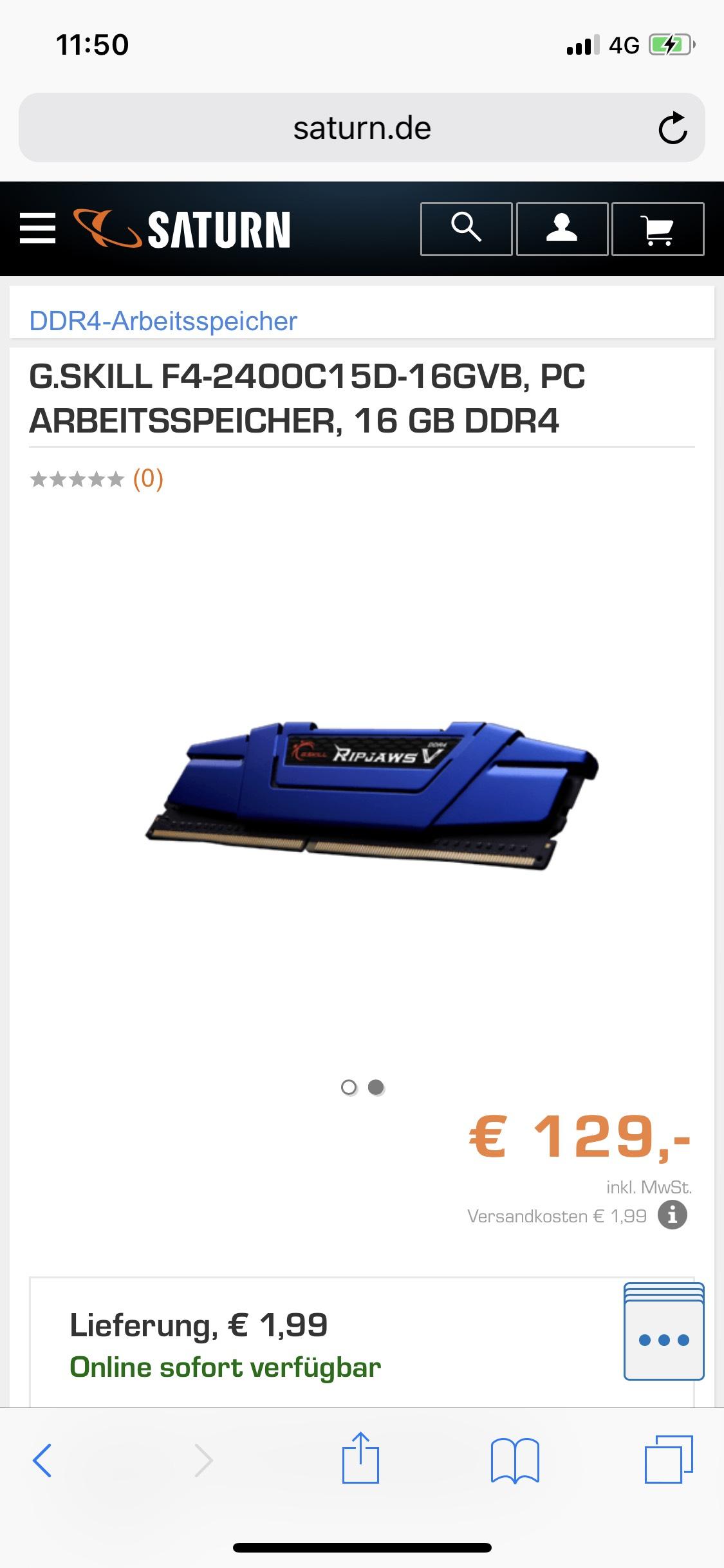 16GB G.Skill Ripjaws V 2400Mhz CL15