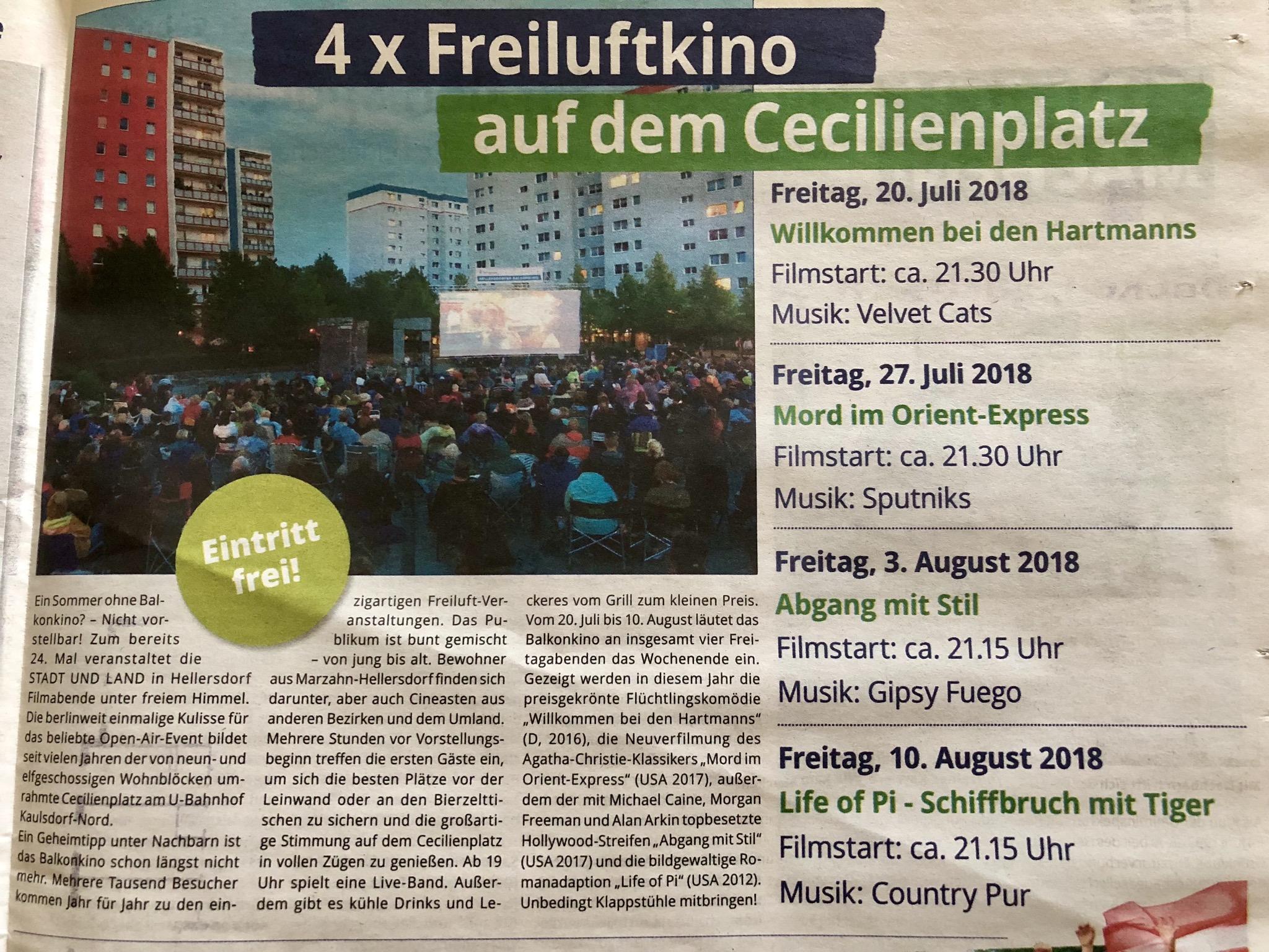 24. Hellersdorfer Balkonkino vom 20.07. - 10.08.2018 Freiluftkino Berlin