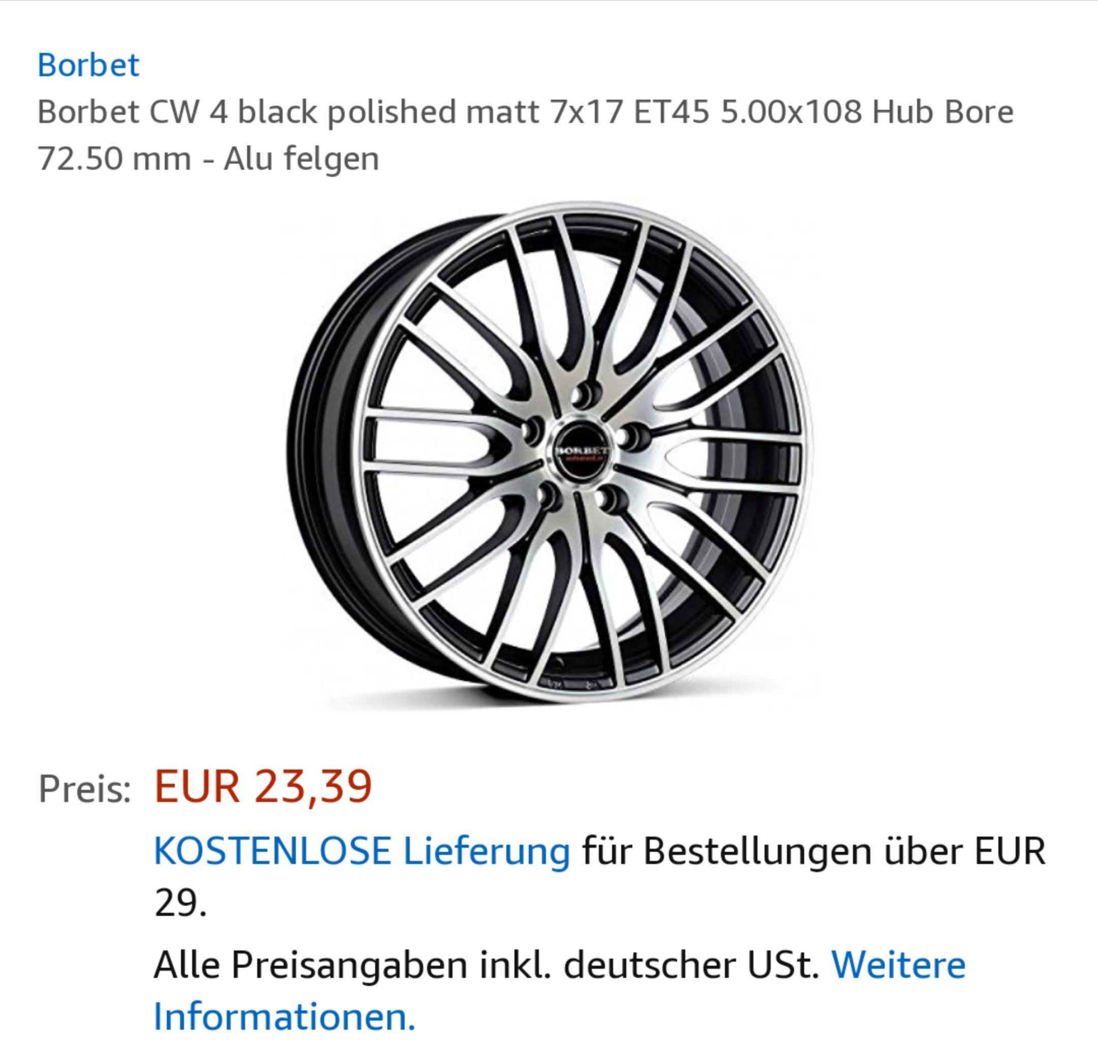 Borbet CW4 (7X17) Felgen für nur 23,39€
