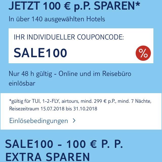 TUI FLASHSALE pro Person 100 € extra sparen