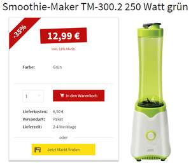 [POCO] WKM 600ml Smoothie-Maker 250W (TM-300.2) für nur 12,99€