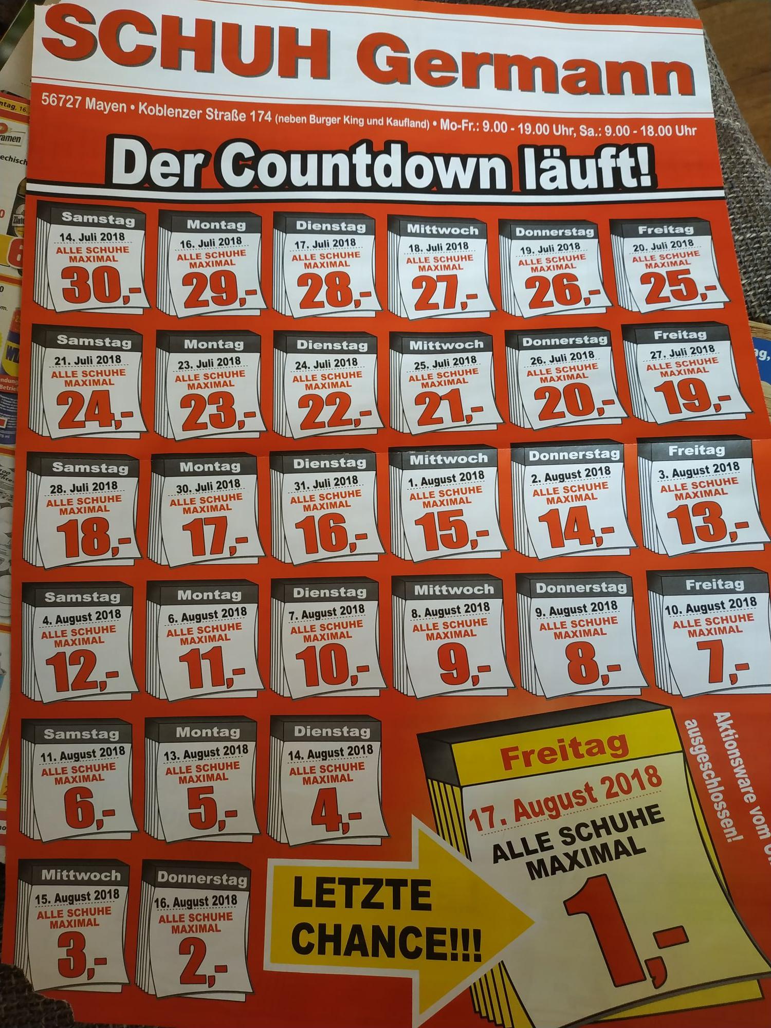 [LOKAL MAYEN] Schuh Germann alle Schuhe jeden Tag 1€ billiger bis 1€
