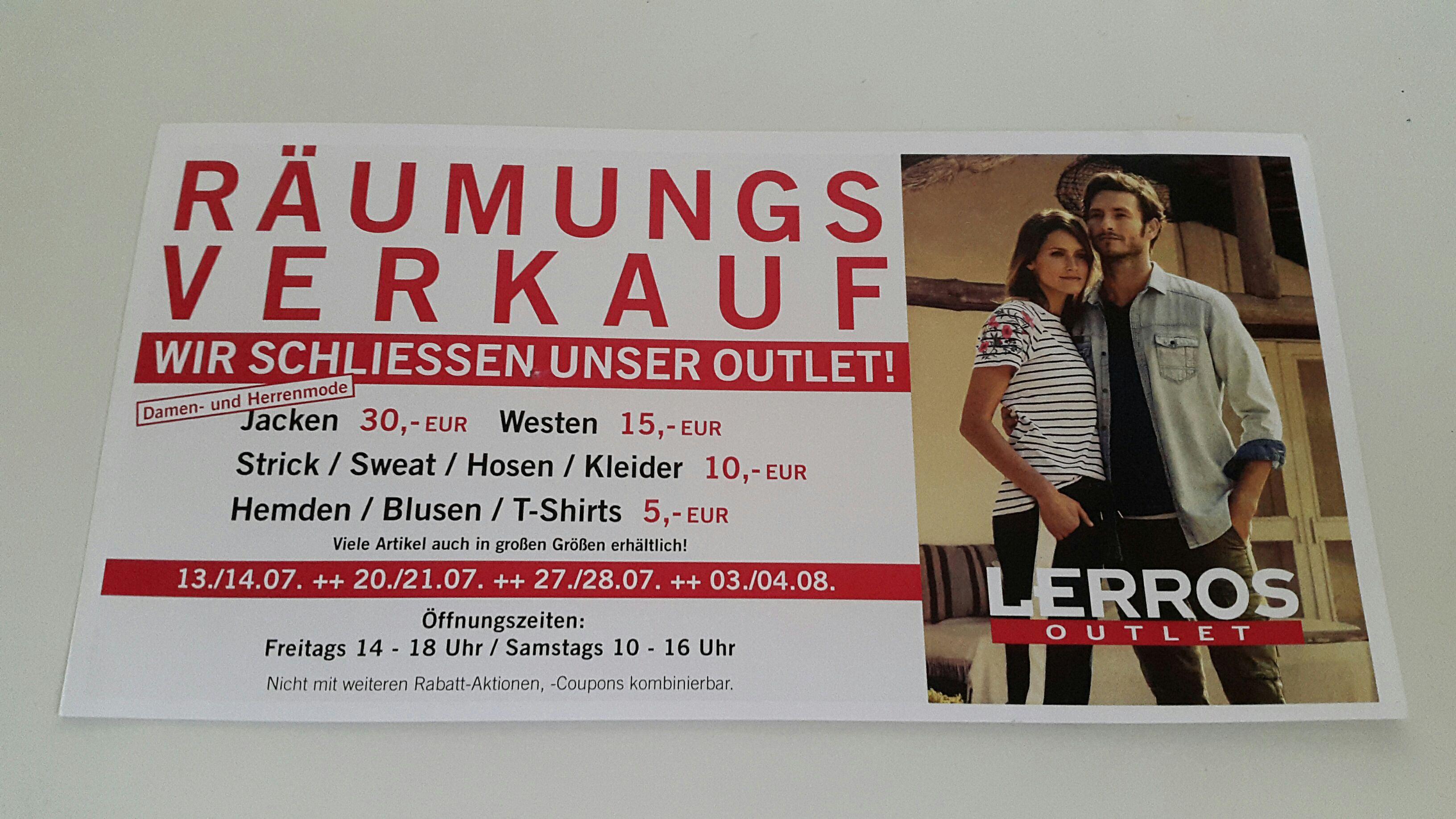 [Lokal] Lerros Outlet Neuss, Räumungsverkauf: bis zu 85 % Rabatt! alle Hosen/Kleider 10€, Hemden/Blusen 5€ uvm [Neuss, Düsseldorf, Köln, Duisburg, Mönchengladbach, Wuppertal und Umgebung]
