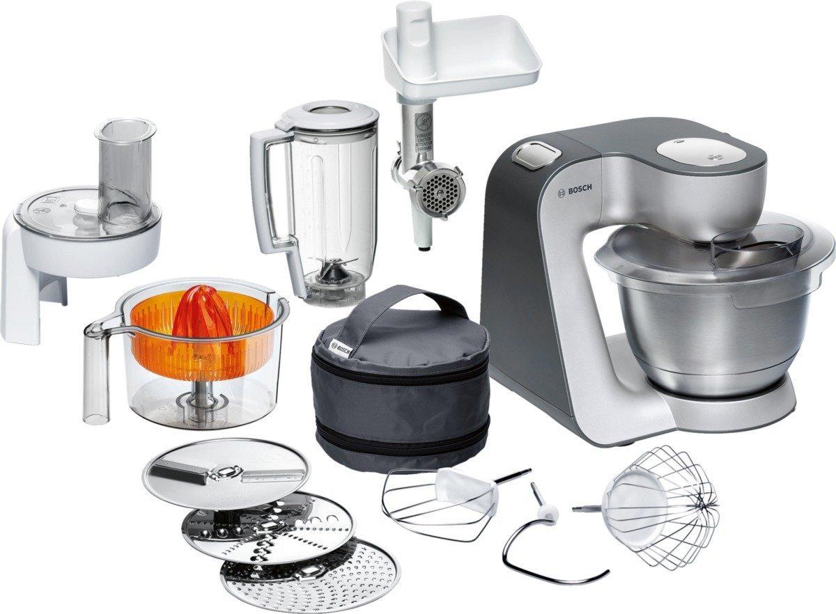 [Amazon WHD - Akzeptabel; GUT für 146 Euro SEHR GUT 155] Bosch MUM56340 Küchenmaschine Styline/900 Watt/Edelstahl-Rührschüssel/Durchlaufschnitzler/Mixeraufsatz Kunststoff/Knethaken Metall/Zitruspresse/Rühr-/Schlagbesen