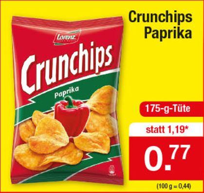 Lorenz Crunchips 175g Paprika für 77 Cent [Zimmermann]