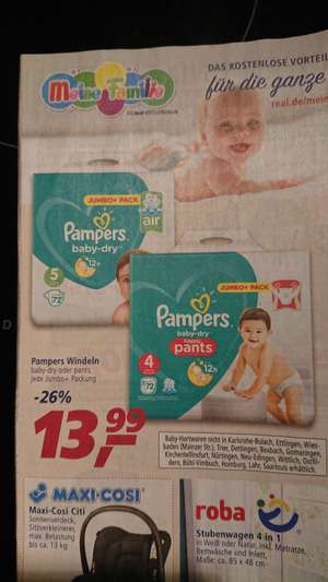 Pampers Jumbo+Pack 9,99€ bei Real - 16.07.-21.07.2018
