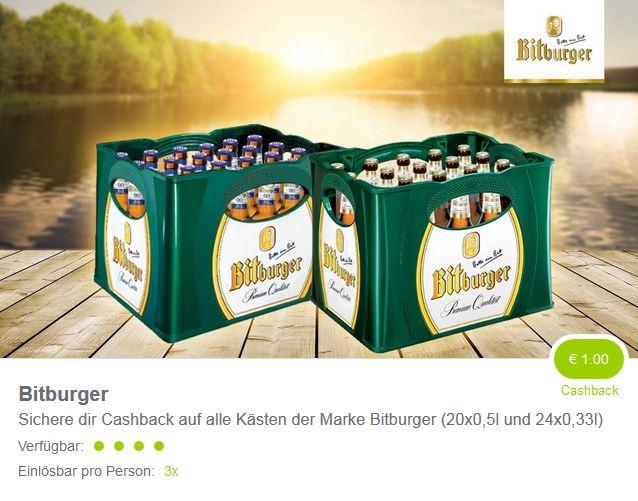 1,00 Euro auf einen Kasten Bitburger - diesmal 3x einlösbar (Marktguru)