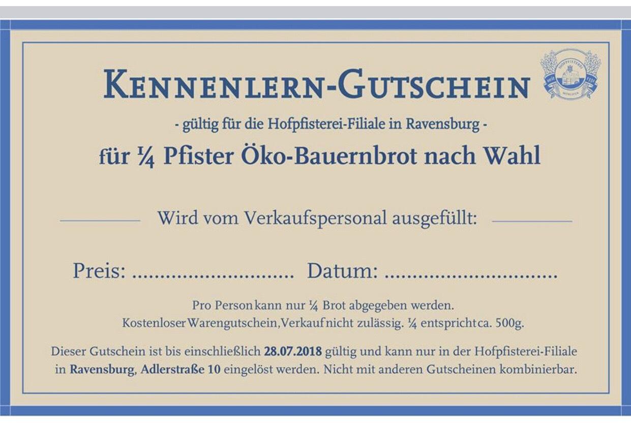 *Ravensburg* Gratis 500gr Brot je nach Wahl in der Hofpfisterei