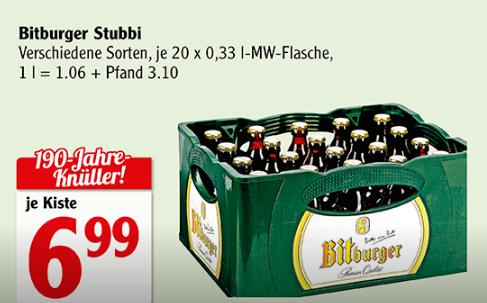 [Lokal Saarland] Bitburger Stubbi, 20x 0,33l