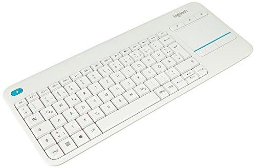 Logitech K400 Plus Touch - Kabellose QWERTZ Tastatur mit Maus-Touchpad