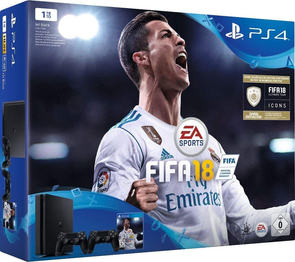 [Amazon Prime] PlayStation 4 - Konsole (1TB, schwarz, slim) inkl. FIFA 18 + 2 DualShock Controller für 279,99€ Inkl. Versand