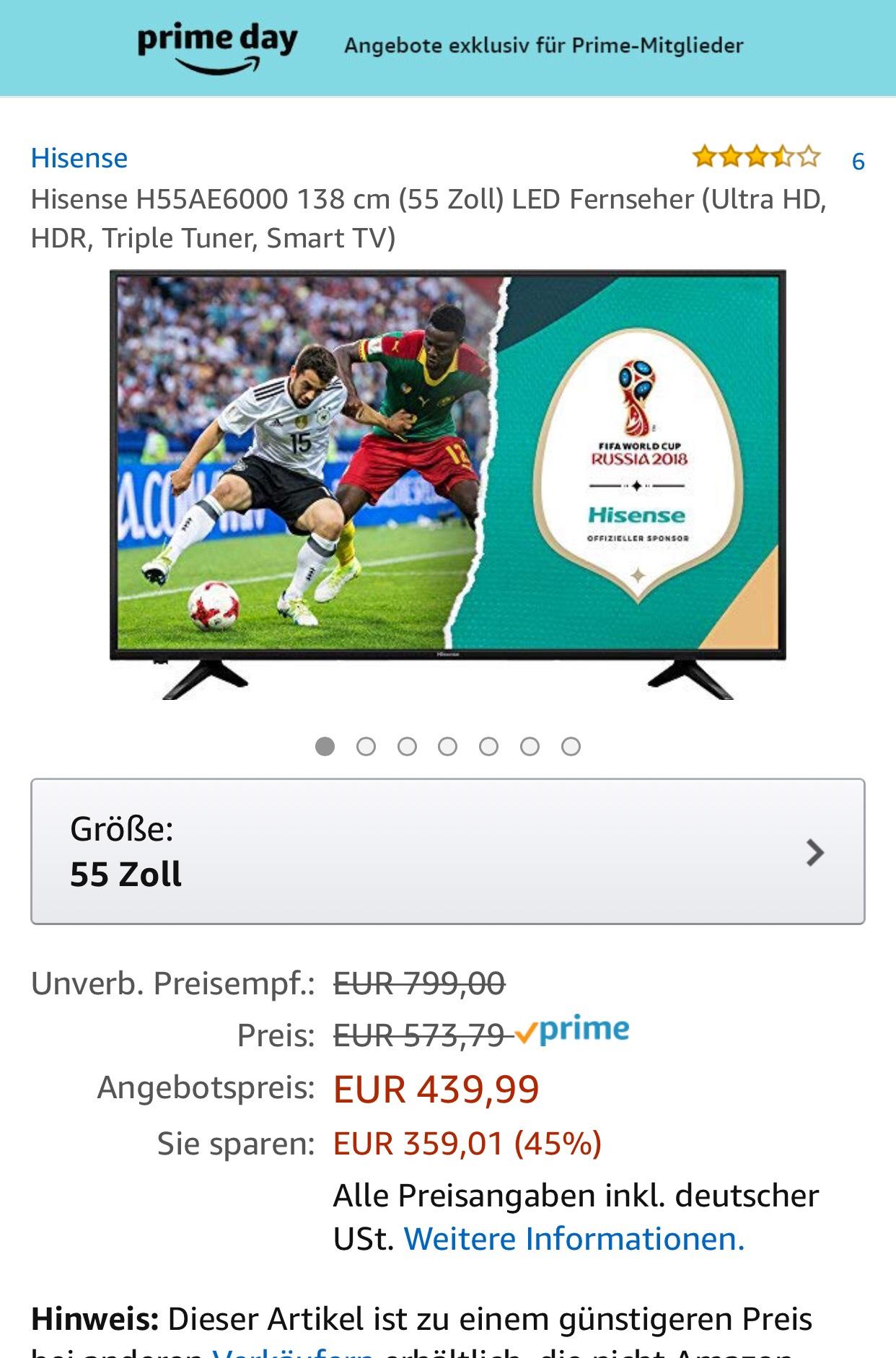 Amazon Prime Day Hisense H55AE6000 138 cm (55 Zoll) LED Fernseher (Ultra HD, HDR, Triple Tuner, Smart TV)