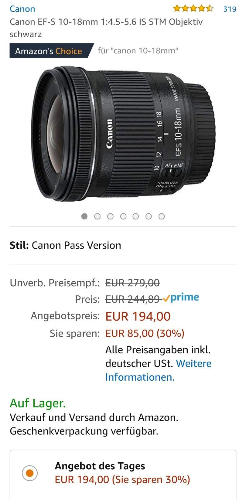 [Primeday] Canon EF-S 10-18mm 1:4.5-5.6 IS STM Objektiv schwarz