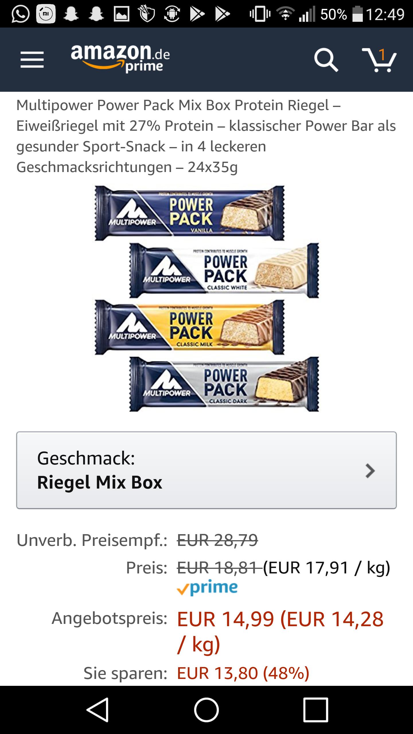 Amazon Prime Day Multipower Protein / Eiweiß Riegel Mix Box 24x35g