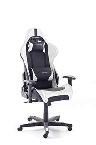(Prime Day) Robas Lund, DX Racer 6 Gamingstuhl, Schreibtischstuhl, Bürostuhl, schwarz/weiß, 78 x 52 x 124-134 cm, 62506SW5