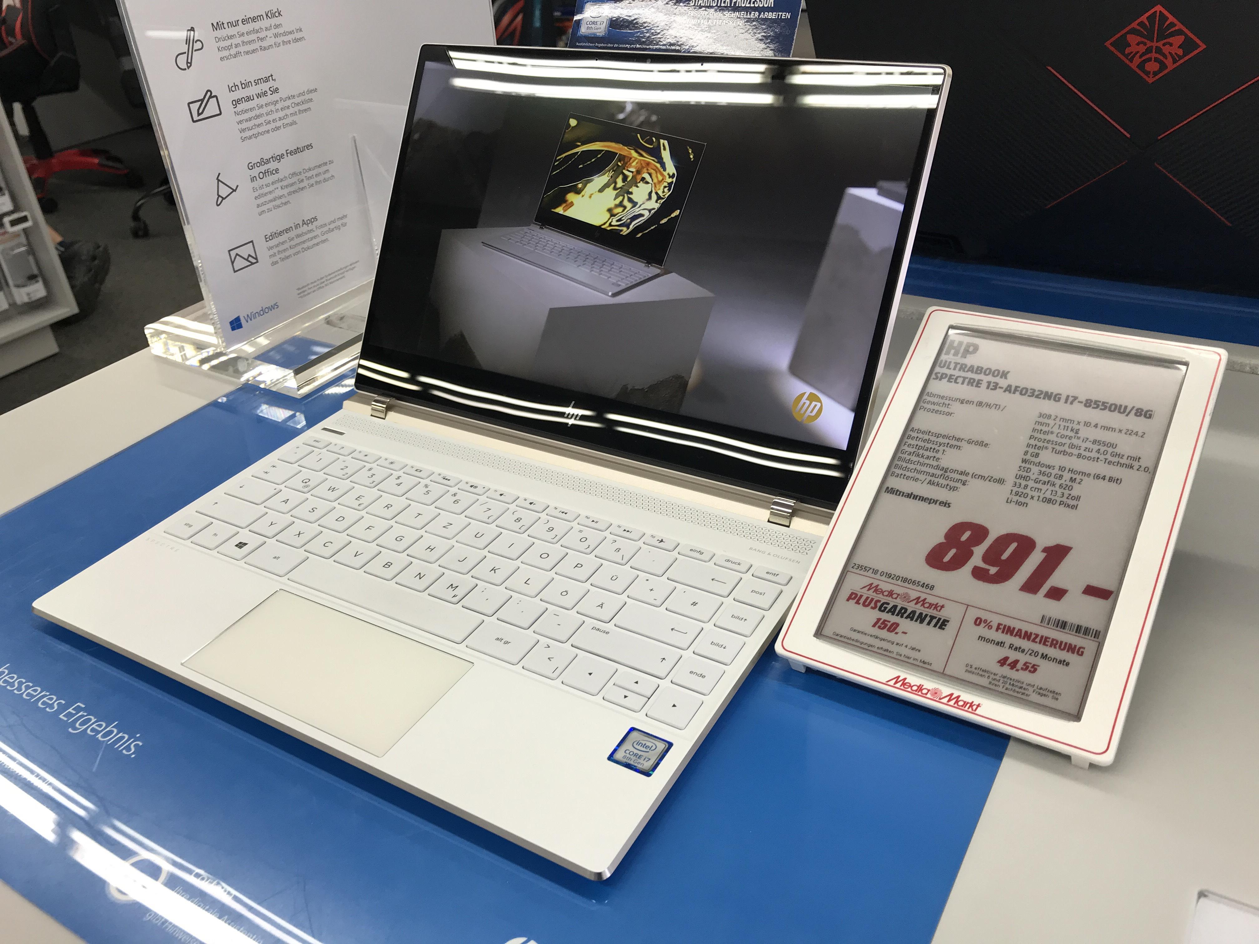 HP Spectre 13-AF032NG i7 - 8550U  - Media Markt Köln Kalk