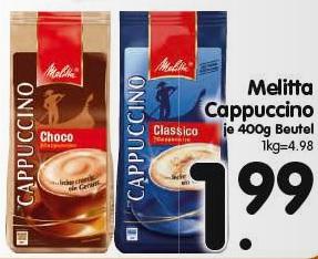 [ REWE CENTER bundesweit ] 10x Melitta Typ Cappuccino 400g Beutel + 5 Movie Choice Kino Gutscheine für 19,90€