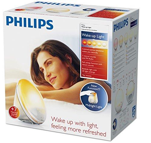 [Amazon Prime Day] Philips HF3531/01 Wake-Up Light (Sonnenaufgangfunktion, Touchdisplay, 7 Wecktöne, digitales FM Radio, Tageslichtwecker)