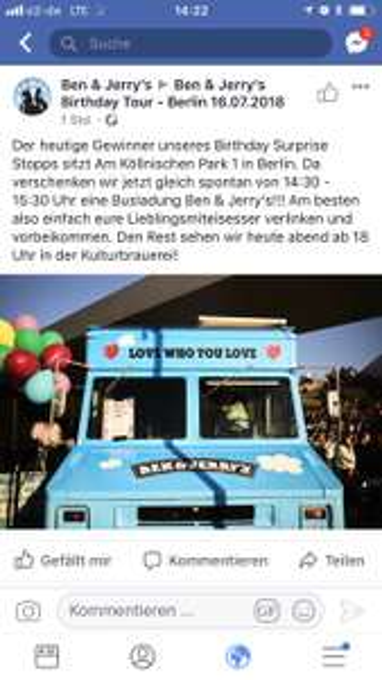 Lokal - Berlin - gratis Ben & Jerry's
