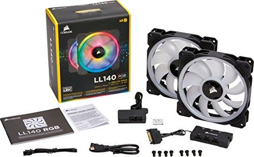 [Amazon Prime Day] Corsair LL140 RGB PWM PC-Gehäuselüfter (140mm, 2 separate Lichtschleifen, mit Lighting Node und Hub, 2er Pack) schwarz