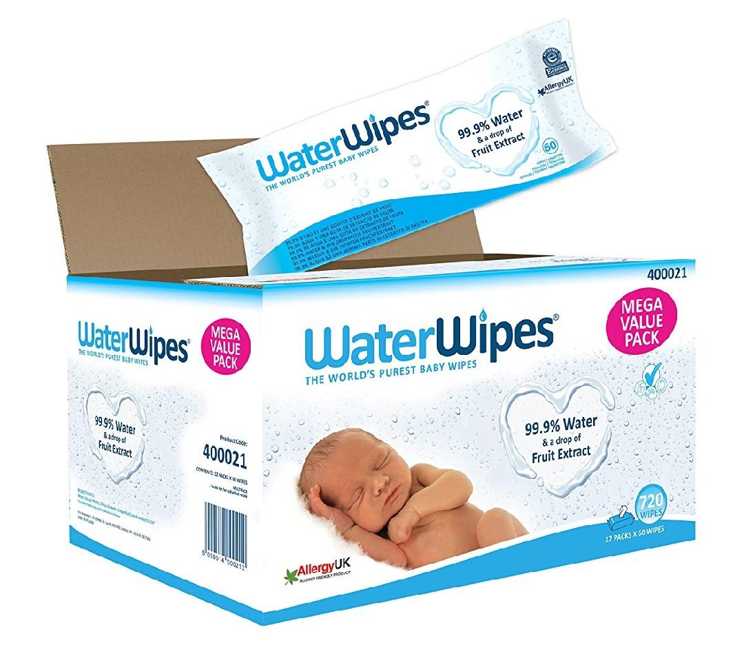 [Primeday] WaterWipes Baby Feuchttücher für empfindliche Haut, parfümfrei, ohne chemische Zusatzstoffe, 12 x 60 (720 Feuchttücher)