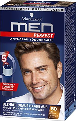 Schwarzkopf Men Perfect Pflege-Tönungsgel (Prime Day), 3er Pack, hellbraun, dunkelbraun gegen graue Haare