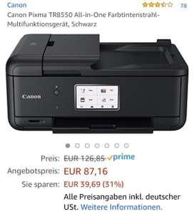 (Amazon Primeday) Canon Pixma TR8550 all in one Drucker - durch cashback für 47,16€
