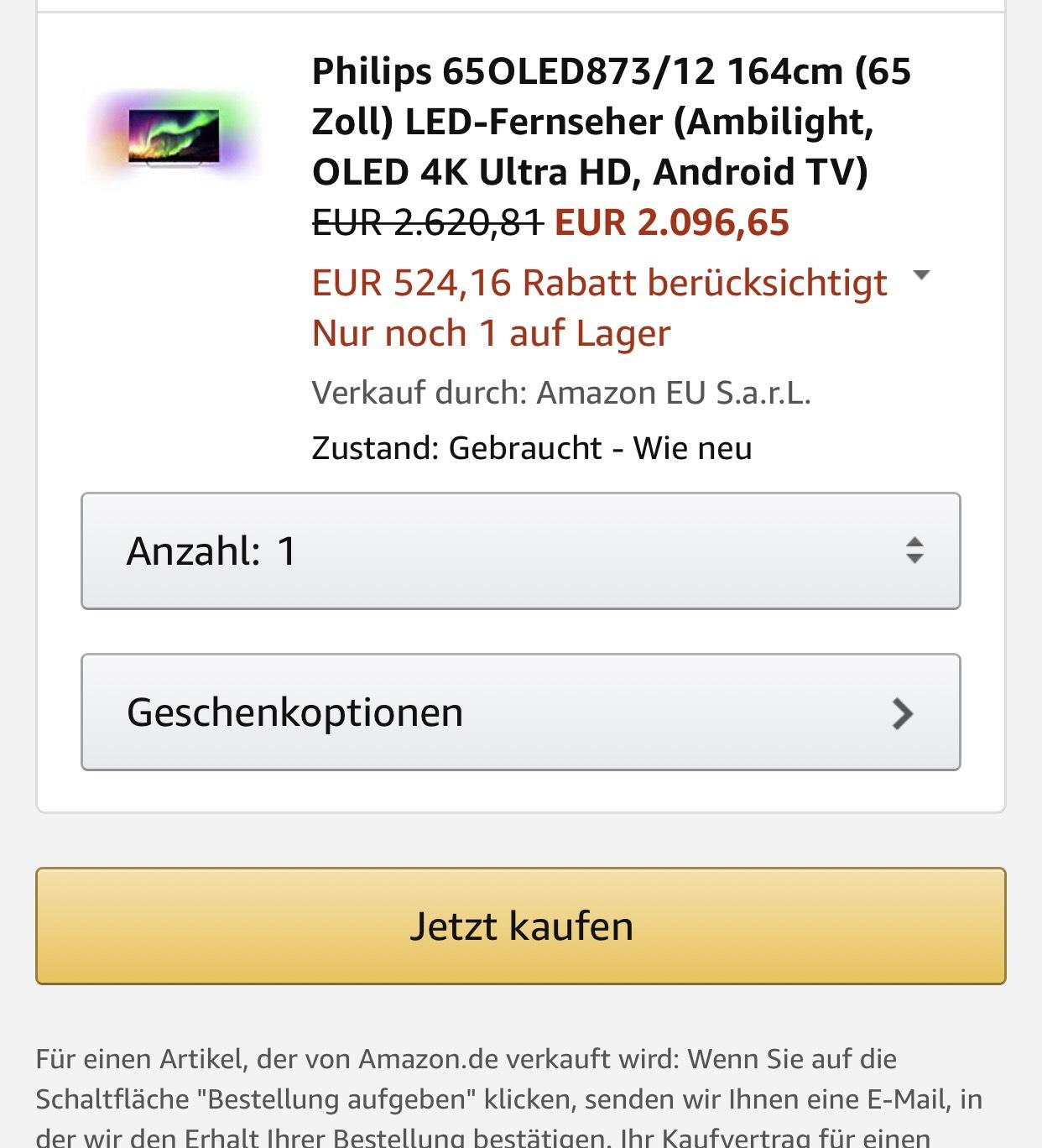 Philips 65OLED873/12 Amazon Warehouse Deals -20% Zustand wie Neu für 2096€