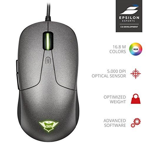 Trust GXT 180 Kusan Gaming Maus (100-5000 DPI, 6 programmierbaren Tasten, USB, CO-Development Epsilon Esports) RGB - Nur für Prime-Mitglieder