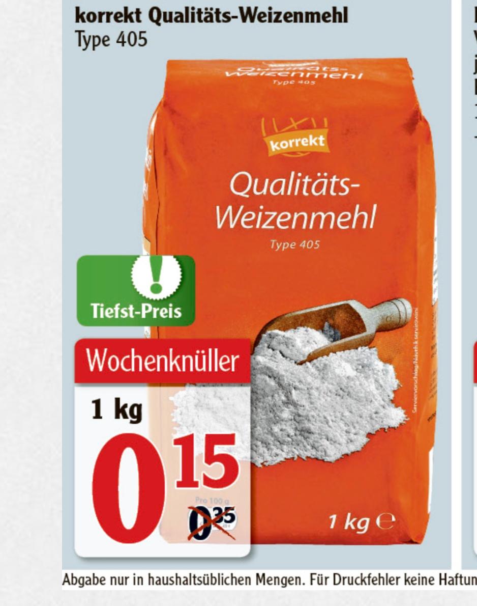 1KG Weizenmehl Typ 405 für 0,15€ @ Globus