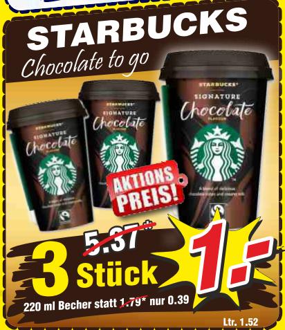 """[Wiglo] 3x Star Bucks """"Chocolate to go"""" 220ml für 1,00€ (=0,33€/Stück) und 4x Weihenstephan Frische Butter für 5,00€ (=1,25€/Stück)"""