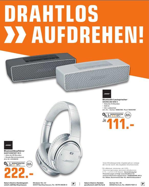 [Regional Saturn Bad Oeynhausen/Herford] Bose SoundLink Mini II in 2 Farben für je 111,-€ // BOSE Quietcomfort 35 II, Over-ear Kopfhörer, in 2 Farben für je 222,-€